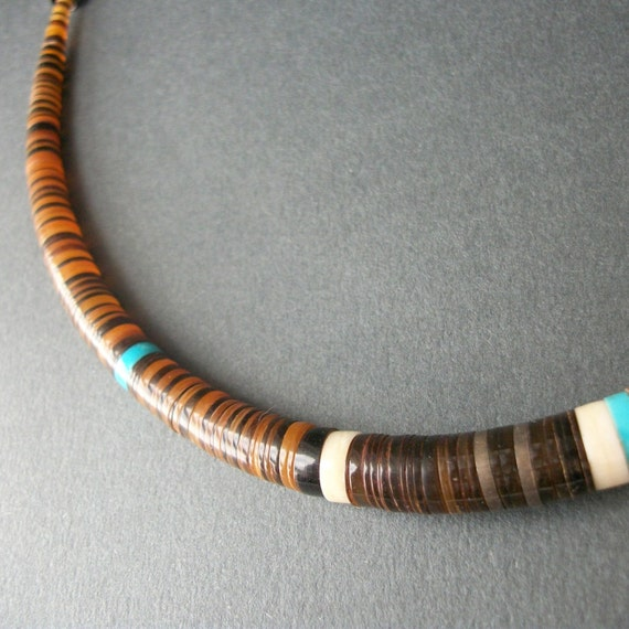 Heishi Necklace with Horn, Turquoise