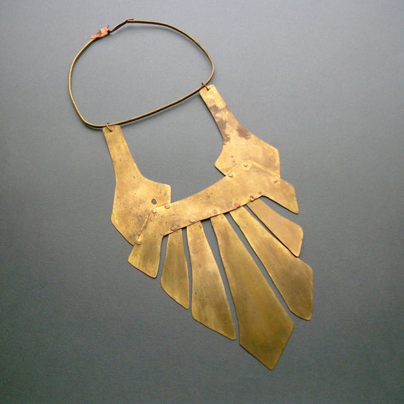 Tribal Breastplace Necklace . Huge Handmade Brass and Copper .