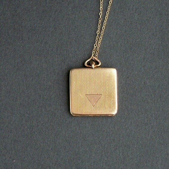 Art Deco Locket. 1920s Square with Triangle.  Geometric. Gold Fill.