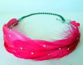 Hot Pink Feather Chain Headband