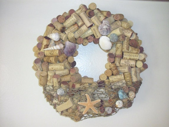 Large Wine Cork Wreath with Seashells