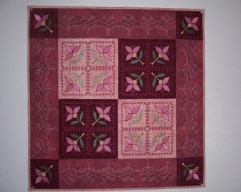 Square Burgundy and Rose Embroidered Table Topper w/ Bonus Pillow
