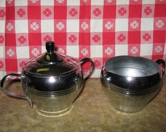 SALE  Chrome Deco style covered sugar and creamer