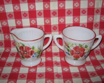 Sugar and creamer set handpainted milkglass