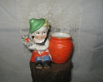 Character planter, little boy, made in Japan