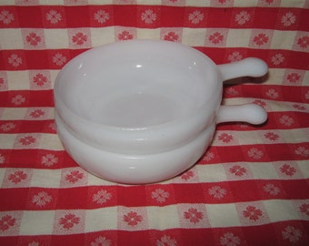 Fire King white small casserole or soup bowls with handles