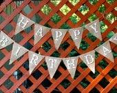 Happy Birthday Burlap Banner, Birthday Party, Bunting, Garland