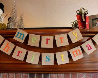 Christmas Holiday Banner - Colorful Christmas Banner - Christmas Decorations - Christmas Banner - Christmas Sign - Christmas Bunting