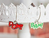 Bam Pow Superhero Comic Book Earrings