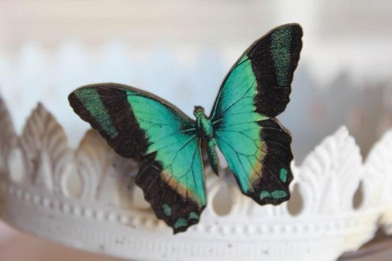 Butterfly Brooch - Wooden Aqua & Black