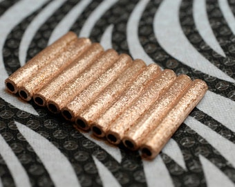 1 1/2 Inch Handmade Copper Tube Beads with Brushed Finish 100 pcs Wholesale Jewelry Making Supplies From Reclaimed Metal
