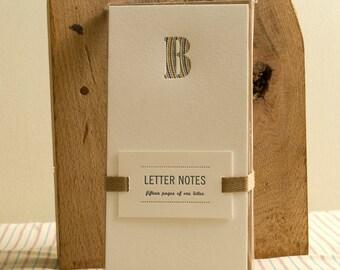 Letter B : Letterpress Notepad / Stationery Set