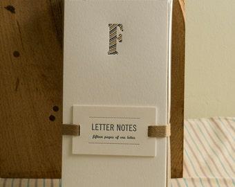 Letter F : Letterpress Notepad / Stationery Set