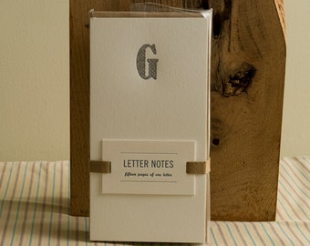 Letter G : Letterpress Notepad / Stationery Set