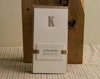 Letter K : Letterpress Notepad / Stationery Set
