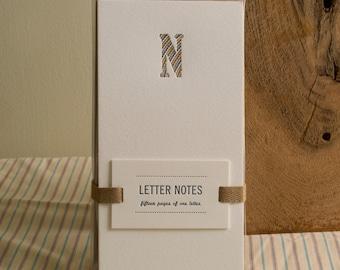 Letter N : Letterpress Notepad / Stationery Set