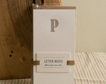 Letter P : Letterpress Notepad / Stationery Set