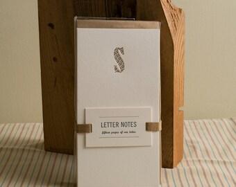 Letter S : Letterpress Notepad / Stationery Set