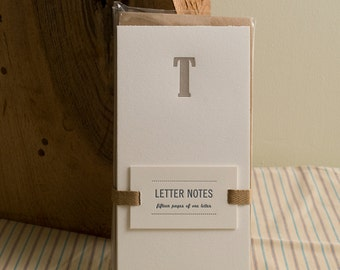 Letter T : Letterpress Notepad / Stationery Set