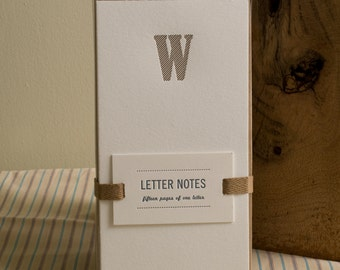 Letter W : Letterpress Notepad / Stationery Set
