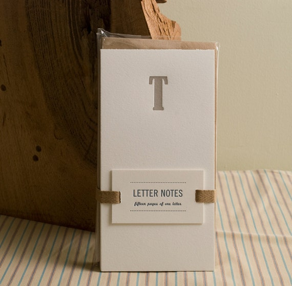 Letter T : Letterpress Notepad / Stationery Set