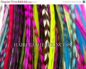 HUGE SALE 30 Very LONG Whiting Hair Feather Extensions aLl MicRolinks included