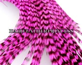 10 Pink Grizzly Hair Feather Extensions microlinks threading wire DIY video link Kit included
