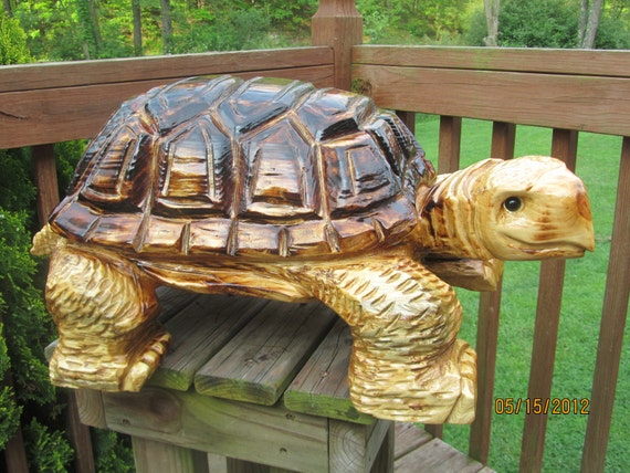 Chainsaw carved turtle by gearyscustomcarvings on etsy
