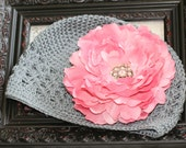 Vintage Inspired Gray Kufi Beanie Style Hat with Gorgeous Pink Peony Clip Embellished With A Vintage Rhinestone Button Center