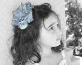 Gorgeous Blue Gray Peony Clip Embellished With A Vintage Rhinestone Button Center On A Clip, Matching Headband Included