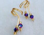 Ear Cuff Pair,Gorgeous Aurora Borealis tiny Crystals Ear Wrap