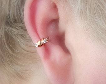Ear Cuff Silverplate/Copper Wire Wrap Dainty Two Color Simple non pierced