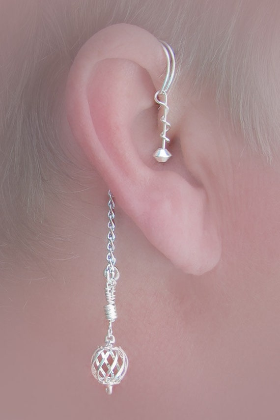 Dangling ear wrap pair,over the ear wrap, no piercing needed