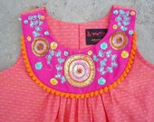 SALE-Girls dress PINK GOLA size 2T 3T girls 5 8- Indian hand embroidery on the Bib neck