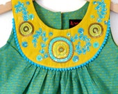 SALE-Boutique YELLOW GOLA dress size 3T girls 7 8- Intricate Indian hand embroidery on the Bib neck