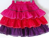 SALE-Boutique cotton tiered ruffled skirt 2T girls 5 7 8-Ready to ship-MAGENTAButterfly princess