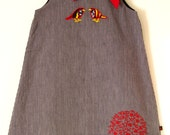 SALE-Boutique 'LITTLE BIRDIE'- girls 6 8-Dark ticking stripe with applique and embroidery