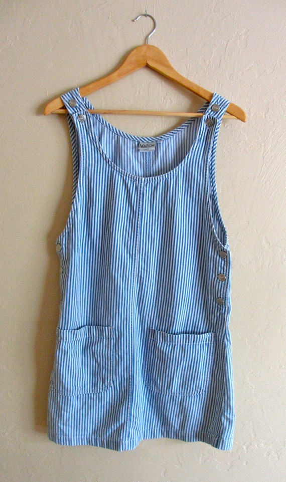 Striped Denim Jumper Dress S