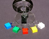 Plastic Toy Brick Square Hung Wine Glass Charms / Markers (set of 6)