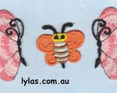3 peach orange iron on embroidered applique patch butterfly bee