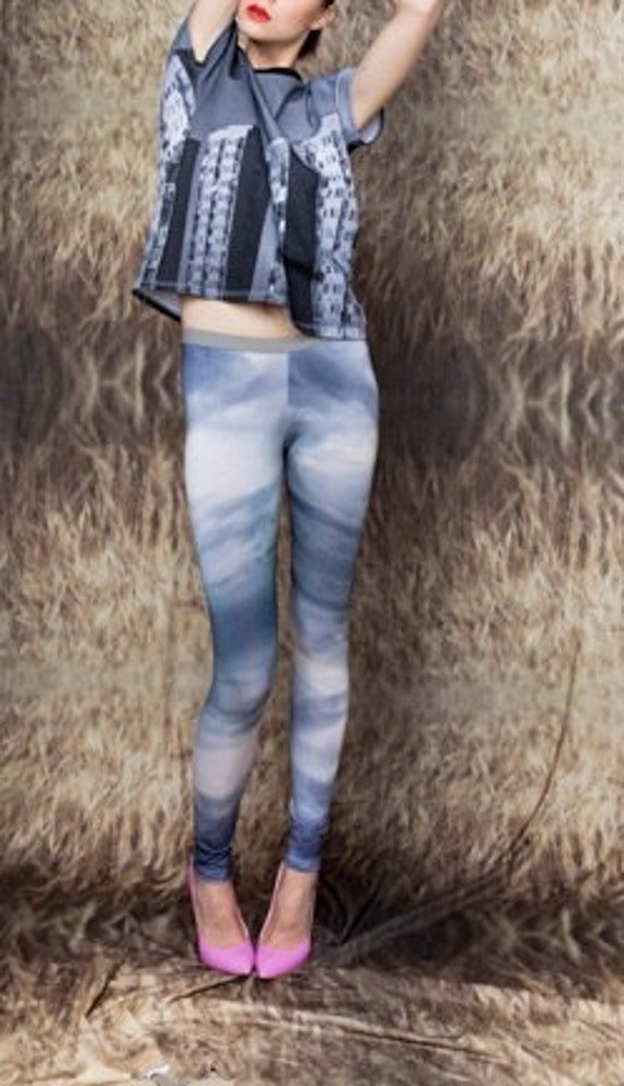 SKY pattern.Woman eco friendly bamboo leggings