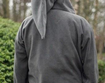 Elf  hoodie Grey - hippy  hoodie - Psy clothing- festival - rave - Medieval hoodie- SCA clothing - Black Friday Etsy- game of thrones
