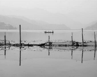 Photo print, Black white photography - 'Phewa Tal'  A4 photo print. Lake, Pokhara, Nepal. Black and White. Photograph