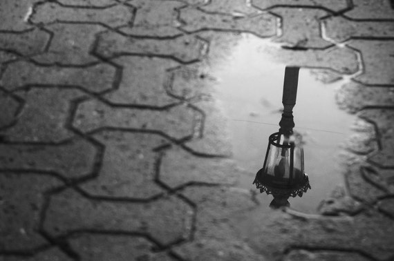 Photo print. Monochrome. A4 photography print (available framed & in other sizes). Istanbul. Photograph. Puddle. Lamp. Black and white