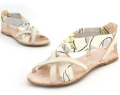 Leather and vintage 1970s print hand made ladies sandal Euro size 35