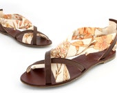 English floral print ladies hand made leather sandal Euro size 36