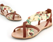 Leather and French floral hand made ladies sandal Euro size 37