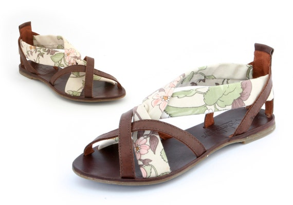 English floral print ladies hand made leather sandal Euro size 37