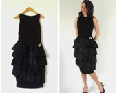 SALE Vintage Wiggle Dress, Black w/ Ruffles, Drop Waist, Sleeveless, Brooch, 50s 60s Jay Herbert, Size S or M