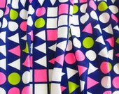 Vintage Geometric Fabric, Mod, Retro, Pink Blue Green White, Shapes, circa 60s 70s